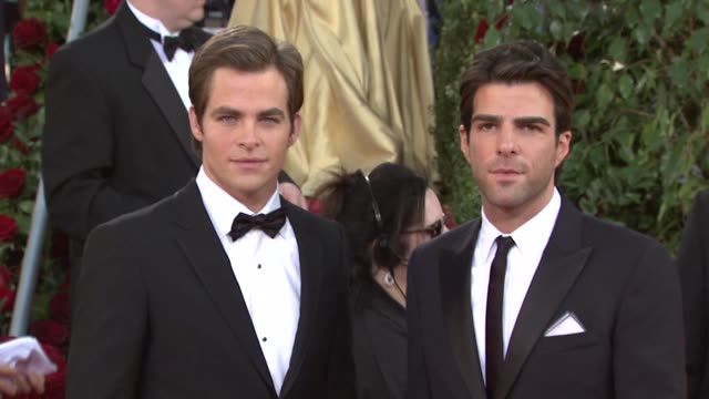 chris pine and zachary quinto at the 66th annual golden globe awards arrivals part 6 at los angeles ca - zachary quinto stock videos and b-roll footage