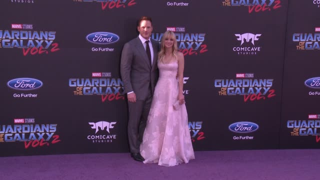 """chris pratt and anna faris at the """"guardians of the galaxy vol. 2"""" los angeles premiere at dolby theatre on april 19, 2017 in hollywood, california. - the dolby theatre stock videos & royalty-free footage"""