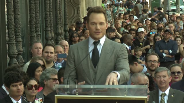 CHYRON Chris Pratt Honored With Star On The Hollywood Walk Of Fame at Hollywood Walk Of Fame on April 21 2017 in Hollywood California