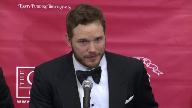 interview chris pratt talks about the super bowl and 'deflategate' on making good on his bet with chris evans when he stopped by christopher's haven... - black entertainment television stock videos & royalty-free footage
