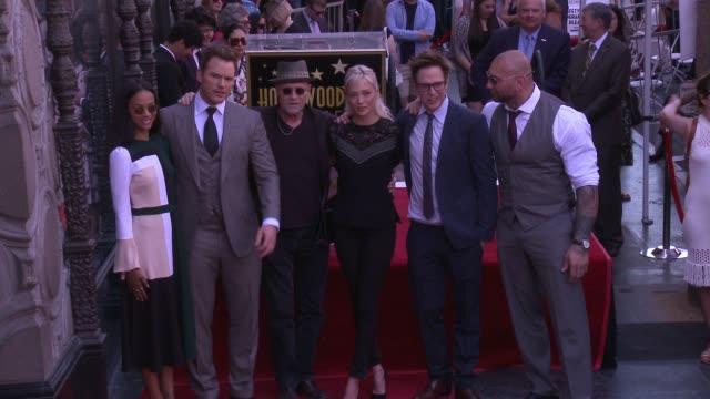 Chris Pratt Zoe Saldana Michael Rooker Pom Klementieff James Gunn and Dave Bautista at the Chris Pratt Honored With Star On The Hollywood Walk Of...