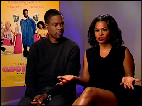 chris rock and nia long on being upfront about her hair at the 'good hair' junket at beverly hills ca - nia long stock videos and b-roll footage
