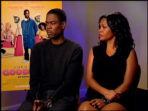 chris rock and nia long on men waiting at the salon all day at the 'good hair' junket at beverly hills ca - nia long stock videos and b-roll footage