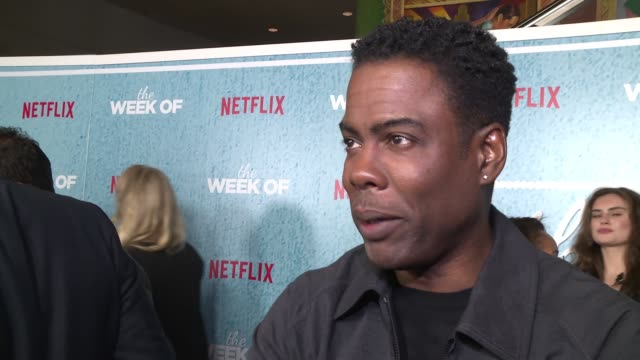 "chris rock on who the cast's funniest comedian is and fun moments on set at the world premiere of the netflix film ""the week of"" at amc loews lincoln... - comedian stock videos & royalty-free footage"