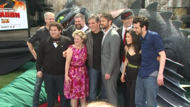 chris sanders , jonah hill, dean deblois, bonnie arnold, craig ferguson, t.j. miller, america ferrera, jay baruchel at the 'how to train your dragon'... - america ferrera stock videos & royalty-free footage