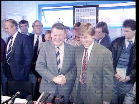 Record football transfer TX Ewood Park SEQ Blackburn Manager Kenny Dalglish shaking with chairman Jack Walker
