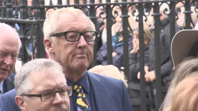 chris tarrant, heston blumenthal, jimmy carr at a service of thanksgiving for the life and work of sir terry wogan at westminster abbey on september... - terry wogan stock videos & royalty-free footage