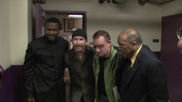 Chris Tucker The Edge Bono Quincy Jones at the Thelonious Monk Institute Honors BB King at Los Angeles CA