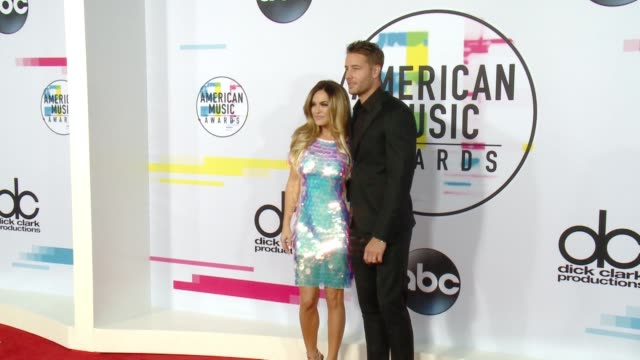 chrishell stause and justin hartley at 2017 american music awards on november 19 2017 in los angeles california - american music awards stock videos & royalty-free footage