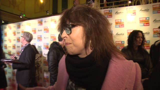 chrissie hynde on the nme magazines future, finding the britts and grammy awards grotesque at nme awards with austin, texas at o2 academy brixton on... - chrissie hynde stock videos & royalty-free footage