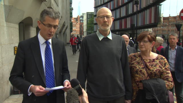 chrissy archibald's parent's lawyer reading out a statement outside the london bridge terror attack inquest at the old bailey - inquest stock videos & royalty-free footage