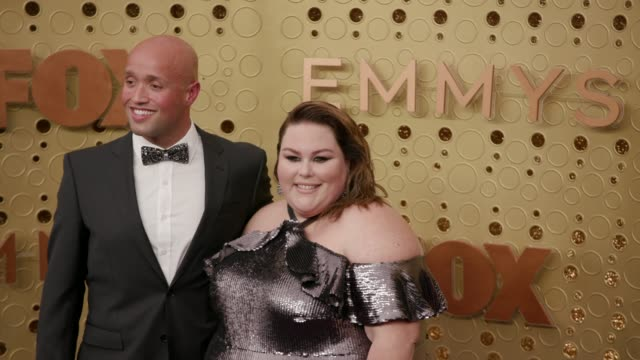 chrissy metz and donnie berry at the 71st emmy awards - arrivals at microsoft theater on september 22, 2019 in los angeles, california. - emmy awards stock videos & royalty-free footage