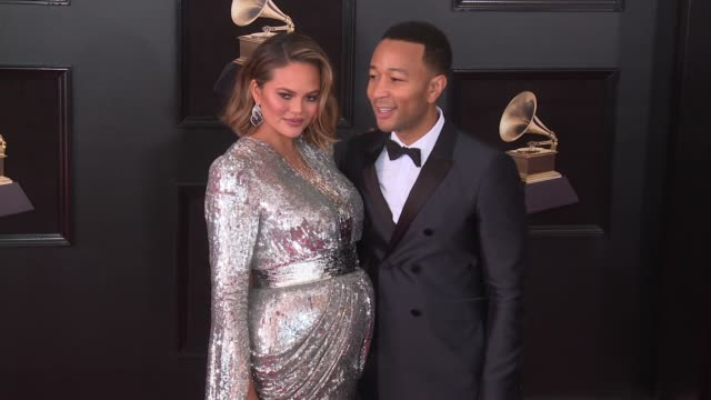 Chrissy Teigen and John Legend at 60th Grammy Awards Celebration Party at Madison Square Garden on January 28 2018 in New York City