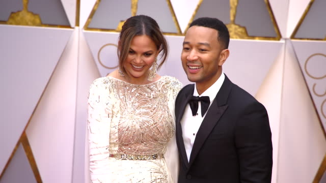 Chrissy Teigen and John Legend at 89th Annual Academy Awards Arrivals at Hollywood Highland Center on February 26 2017 in Hollywood California 4K