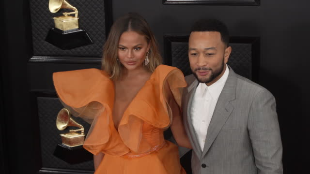 chrissy teigen and john legend at the 62nd annual grammy awards arrivals at staples center on january 26 2020 in los angeles california - grammy awards stock videos & royalty-free footage