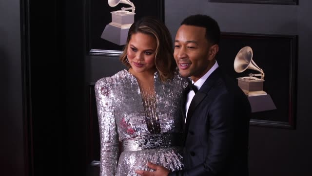 Chrissy Teigen at 60th Grammy Awards Celebration Party at Madison Square Garden on January 28 2018 in New York City