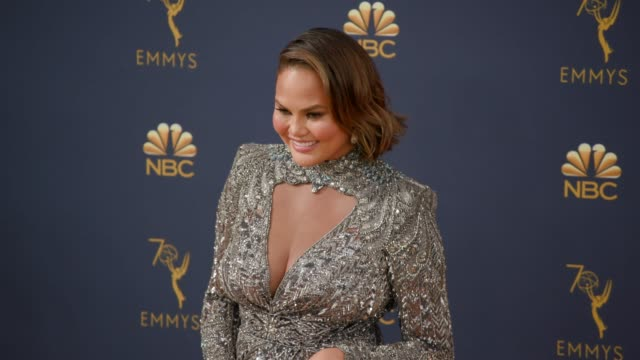 chrissy teigen at the 70th emmy awards arrivals at microsoft theater on september 17 2018 in los angeles california - emmy awards stock videos & royalty-free footage