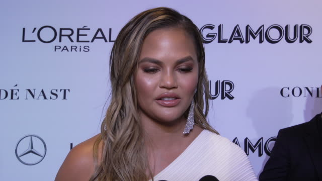 interview chrissy teigen talks about being at the event and a memorable moment in women's rights at the glamour's 2018 women of the year at spring... - interview stock videos & royalty-free footage
