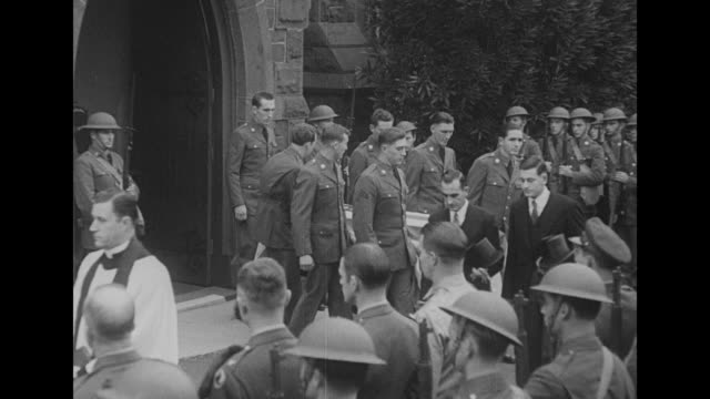 vídeos y material grabado en eventos de stock de christ church and steeple against the sky / pan soldiers standing at attention as officers walk from church / ms officers walking solemnly together /... - general macarthur