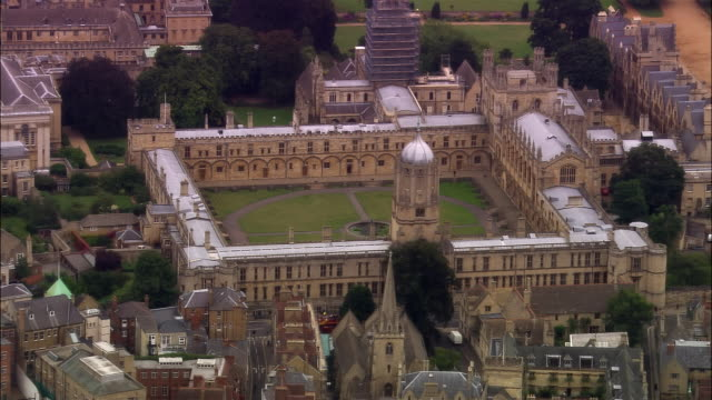 aerial, christ church college, oxford, england - oxford england stock videos & royalty-free footage
