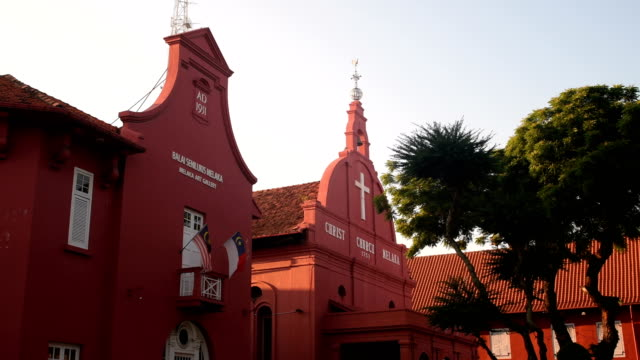 christ church in malacca, malaysia - malacca stock videos and b-roll footage