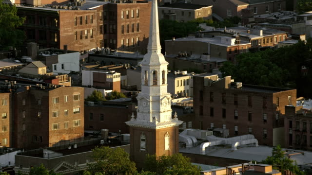 aerial christ church, philadelphia, pa - church stock videos & royalty-free footage