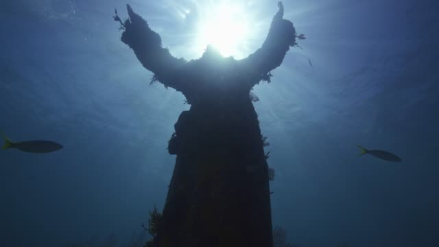 christ of the abyss - sculpture stock videos & royalty-free footage