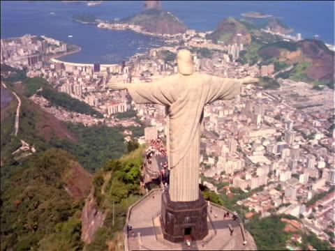 AERIAL Christ statue (Corcovado) over Rio de Janeiro