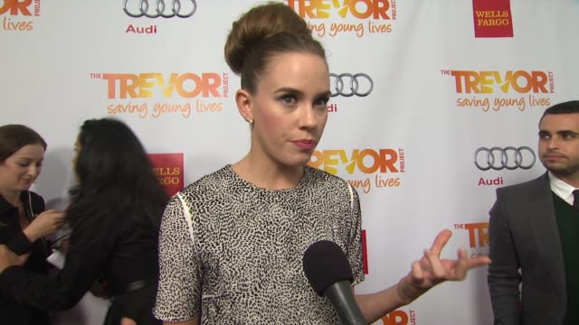 christa b allen on why she supports the trevor project why the cause is close to her heart and why katy perry is deserving of the trevor hero award... - the trevor project stock videos and b-roll footage