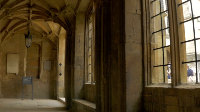 christchurch college,cloisters,ws,pan - oxford england stock videos & royalty-free footage
