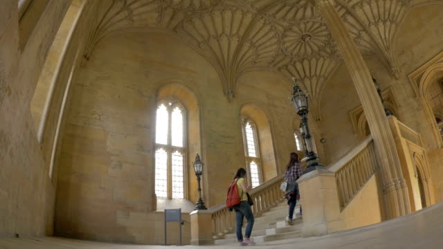 christchurch collegethe hall staircase, ws,tourists, - oxford england stock videos & royalty-free footage