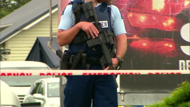 jacinda ardern to push for gun law changes as locals mourn victims new zealand christchurch linwood islamic centre various shots police officers... - new zealand stock videos & royalty-free footage