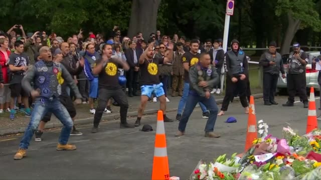 Jacinda Ardern to push for gun law changes as locals mourn victims NEW ZEALAND Christchurch EXT Mangu Kaha Aotearoa Biker Gang performing Haka lament...