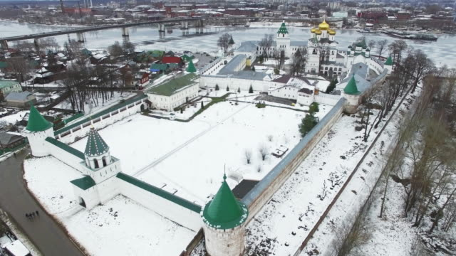 Christial monastery in winter - aerial view