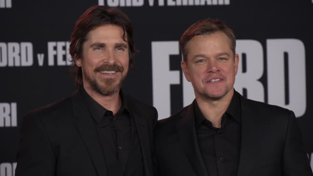 christian bale and matt damon at the ford v ferrari premiere at tcl chinese theatre on november 04 2019 in hollywood california - matt damon stock videos and b-roll footage