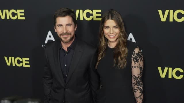 stockvideo's en b-roll-footage met christian bale and sibi blazic at the vice world premiere at samuel goldwyn theater on december 11 2018 in beverly hills california - première