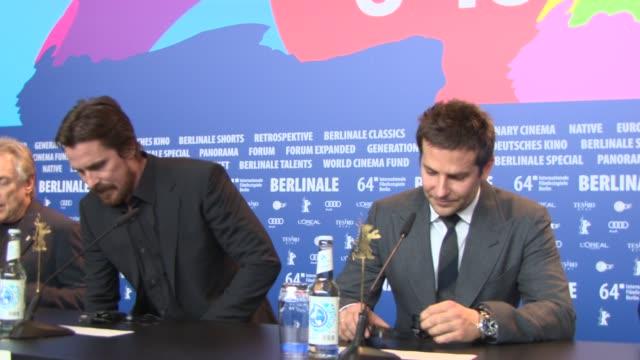 BROLL Christian Bale Bradley Cooper at 'American Hustle' Press Conference at Grand Hyatt Hotel on February 7 2014 in Berlin Germany