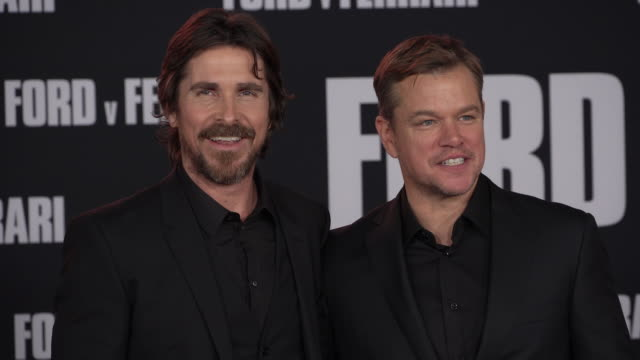 christian bale matt damon at the ford v ferrari premiere - matt damon stock videos and b-roll footage