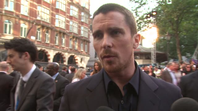 Christian Bale on the electric atmosphere in Leicester Square on being dubbed Ôthe savior of franchisesÕ with Terminator Salvation coming up and on...