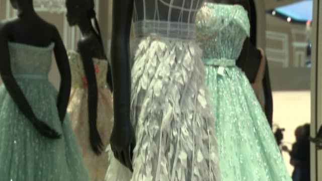 christian dior retrospective to open at london's victoria albert museum england london victoria and albert museum int dress worn by actress lupita... - lupita nyong'o stock videos and b-roll footage