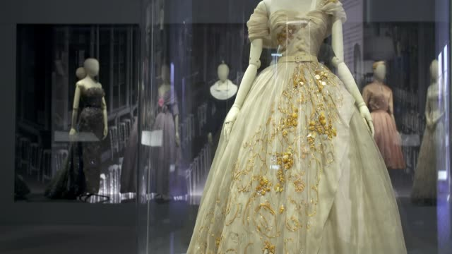 Christian Dior retrospective to open at London's Victoria Albert museum ENGLAND London Victoria and Albert Museum INT Various of dress made by...