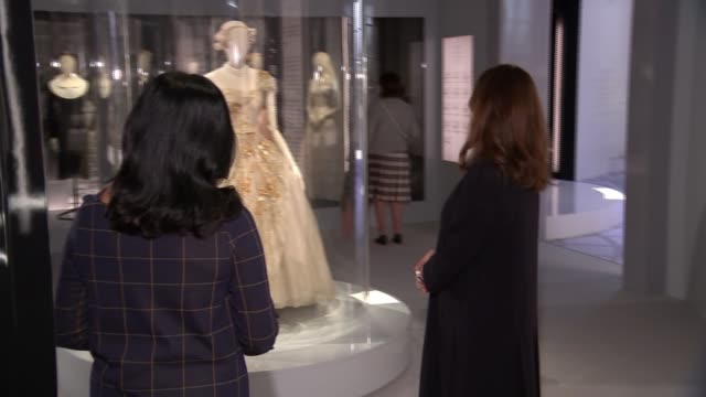 Christian Dior retrospective to open at London's Victoria Albert museum ENGLAND London Victoria and Albert Museum INT Various of reporter and...
