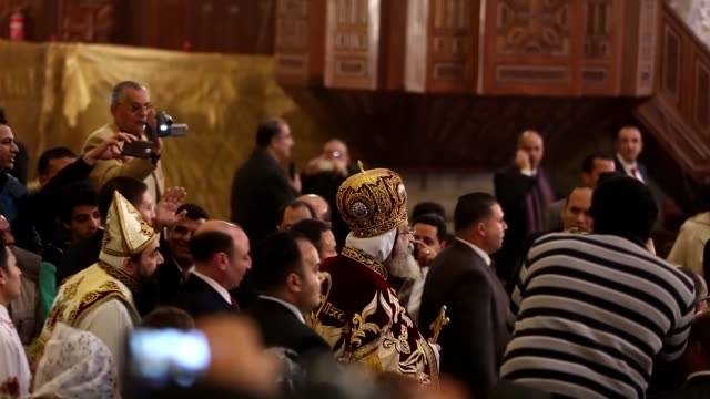 christian egyptians attend a christmas mass which was lead by pope tawadros ii of alexandria head of the egyptian coptic orthodox church at the... - president of egypt stock videos & royalty-free footage