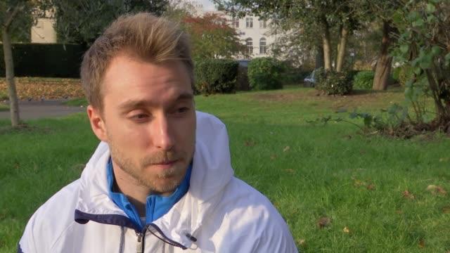 Christian Eriksen interview / war memorail general views Christian Eriksen interview SOT