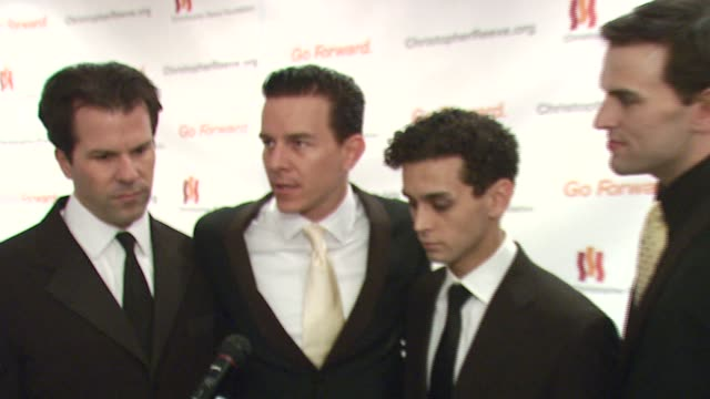 christian hoff daniel reichard michael longoria and steve gouveia/ jersey boys they talk about the broadway presence at this event and broadway's... - christopher and dana reeve foundation stock videos and b-roll footage