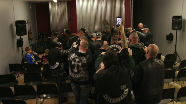 christian motorcycle club prays together - biker gang stock videos & royalty-free footage