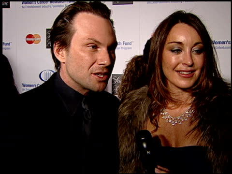 christian slater and tamara mellon on being here tonight their favorite movie of the year and on what they are doing for the oscars at the saks... - christian slater stock videos & royalty-free footage