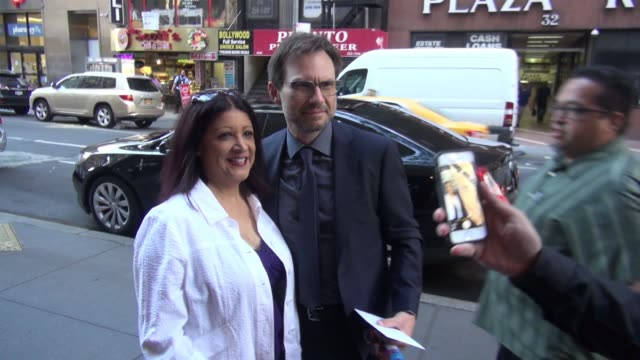 christian slater arrives at the 'today' show and poses for photos with fans in celebrity sightings in new york - christian slater stock videos & royalty-free footage