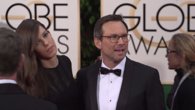 christian slater at 73rd annual golden globe awards arrivals at the beverly hilton hotel on january 10 2016 in beverly hills california 4k - christian slater stock videos & royalty-free footage