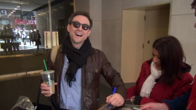 christian slater exits the today show in rockefeller center signs for poses with fans before getting into his car in celebrity sightings in new york - christian slater stock videos & royalty-free footage